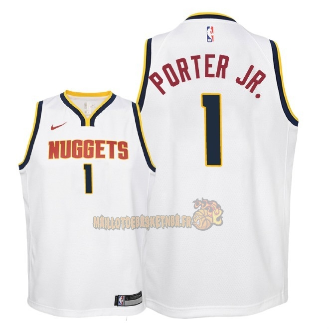Vente Nouveau Maillot NBA Enfant Denver Nuggets NO.1 Michael Porter Jr Blanc Association 2018-19 Pas Cher