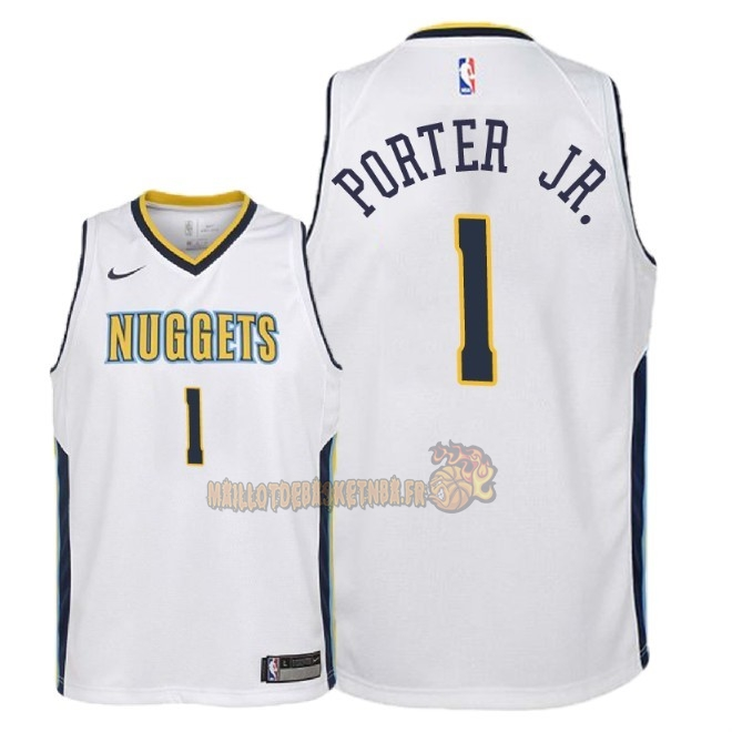 Vente Nouveau Maillot NBA Enfant Denver Nuggets NO.1 Michael Porter Jr Blanc Association 2018 Pas Cher