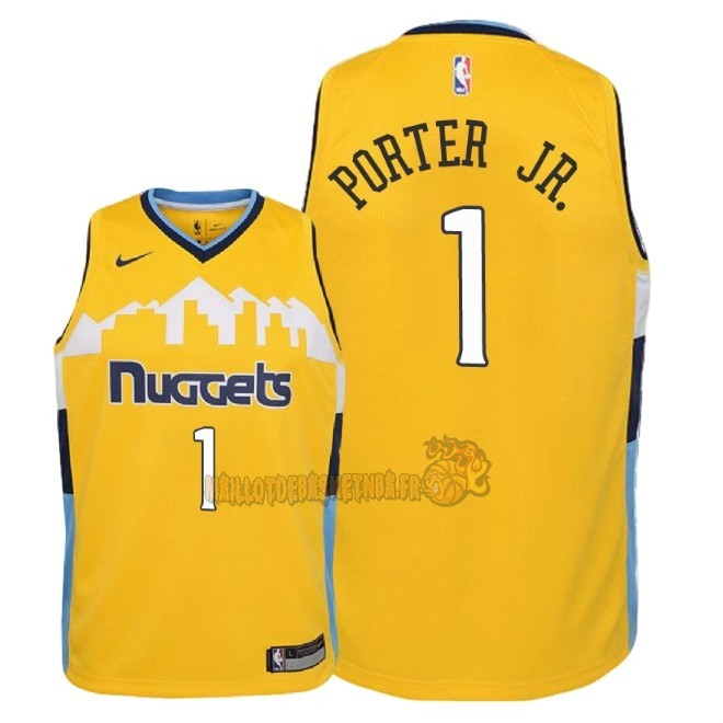 Vente Nouveau Maillot NBA Enfant Denver Nuggets NO.1 Michael Porter Jr Jaune Statement 2018 Pas Cher
