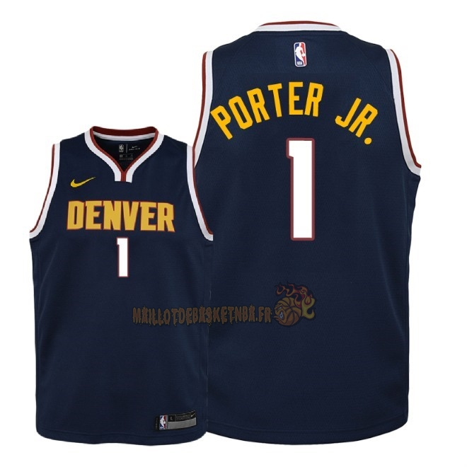 Vente Nouveau Maillot NBA Enfant Denver Nuggets NO.1 Michael Porter Jr Marine Icon 2018-19 Pas Cher