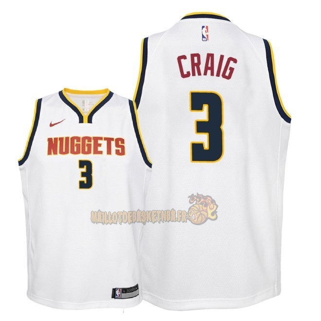 Vente Nouveau Maillot NBA Enfant Denver Nuggets NO.3 Torrey Craig Blanc Association 2018-19 Pas Cher