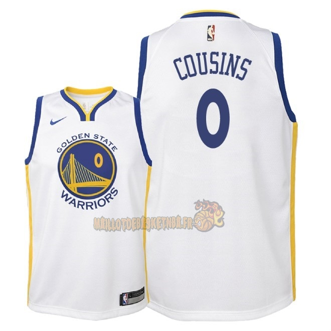 Vente Nouveau Maillot NBA Enfant Golden State Warriors NO.0 DeMarcus Cousins Blanc Association 2018 Pas Cher