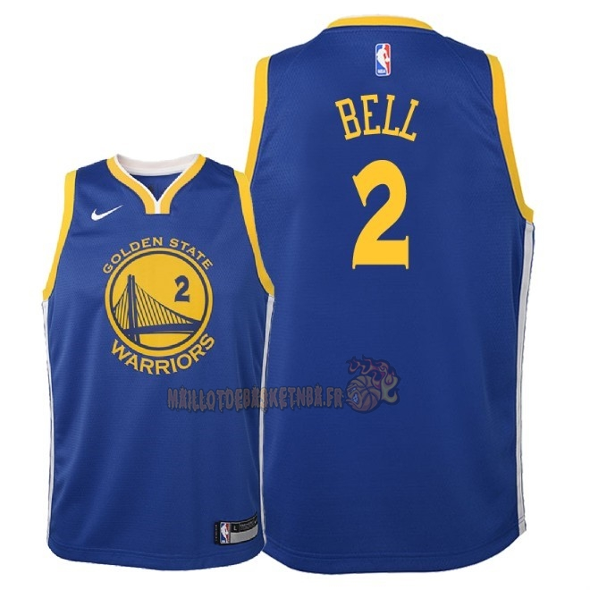 Vente Nouveau Maillot NBA Enfant Golden State Warriors NO.2 Jordan Bell Bleu Icon 2018 Pas Cher