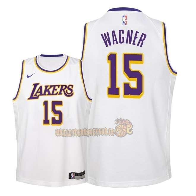Vente Nouveau Maillot NBA Enfant Los Angeles Lakers NO.15 Moritz Wagner Blanc Association 2018-19 Pas Cher
