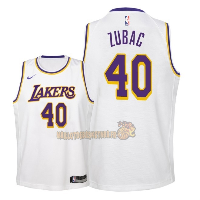 Vente Nouveau Maillot NBA Enfant Los Angeles Lakers NO.40 Ivica Zubac Blanc Association 2018-19 Pas Cher