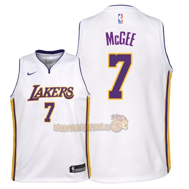 Vente Nouveau Maillot NBA Enfant Los Angeles Lakers NO.7 JaVale McGee Blanc Association 2018 Pas Cher