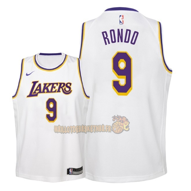 Vente Nouveau Maillot NBA Enfant Los Angeles Lakers NO.9 Rajon Rondo Blanc Association 2018-19 Pas Cher