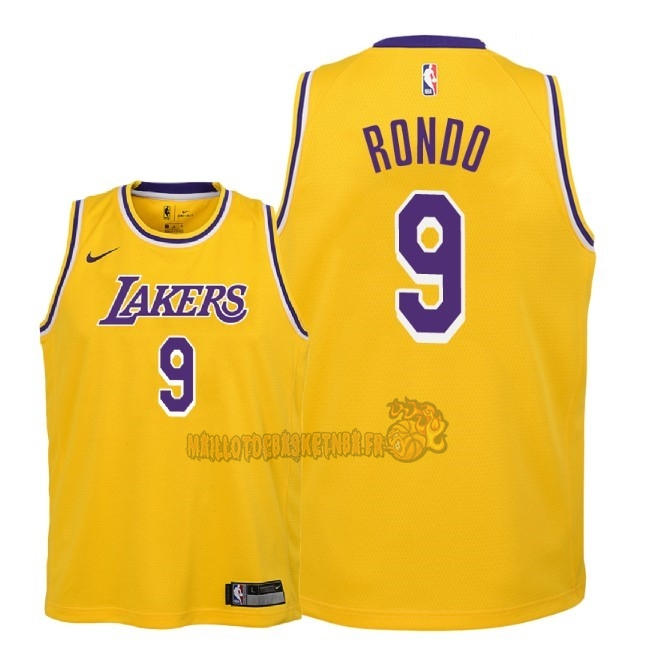 Vente Nouveau Maillot NBA Enfant Los Angeles Lakers NO.9 Rajon Rondo Jaune Icon 2018-19 Pas Cher
