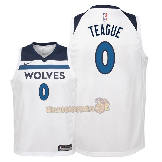 Vente Nouveau Maillot NBA Enfant Minnesota Timberwolves NO.0 Jeff Teague Blanc Association 2018 Pas Cher