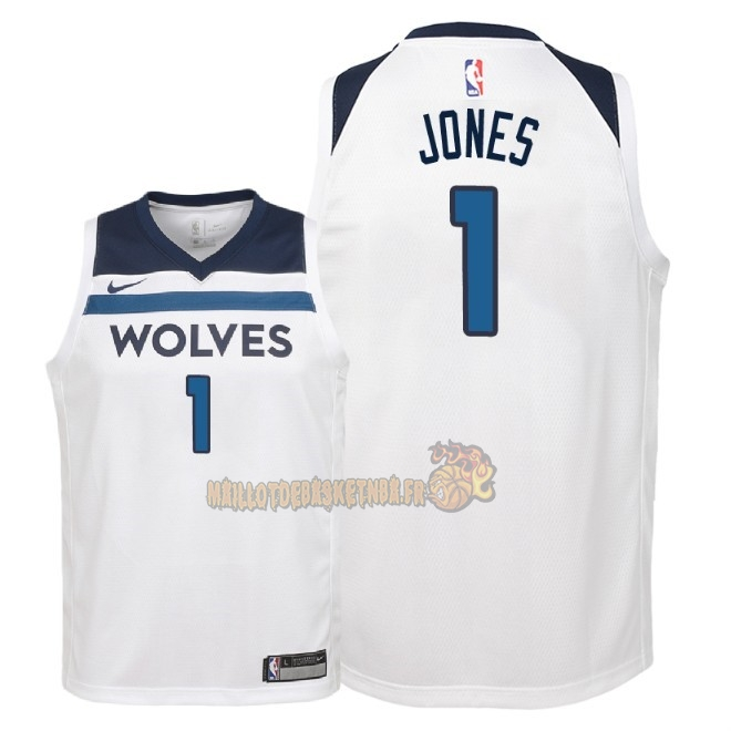 Vente Nouveau Maillot NBA Enfant Minnesota Timberwolves NO.1 Tyus Jones Blanc Association 2018 Pas Cher