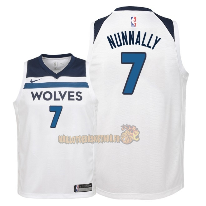 Vente Nouveau Maillot NBA Enfant Minnesota Timberwolves NO.7 James Nunnally Blanc Association 2018 Pas Cher