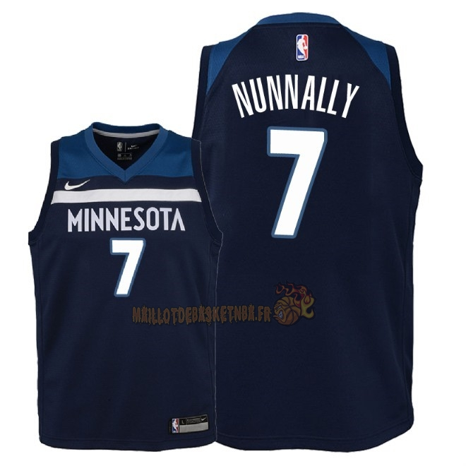 Vente Nouveau Maillot NBA Enfant Minnesota Timberwolves NO.7 James Nunnally Marine Icon 2018 Pas Cher