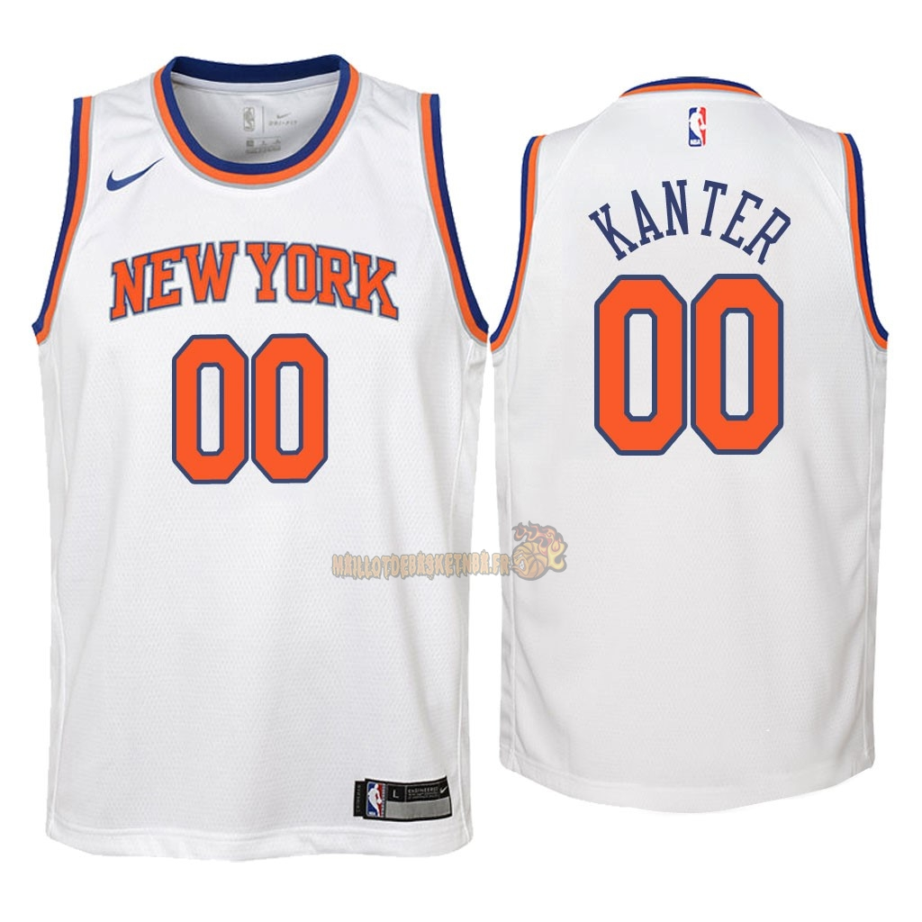 Vente Nouveau Maillot NBA Enfant New York Knicks NO.0 Enes Kanter Blanc Association 2018 Pas Cher
