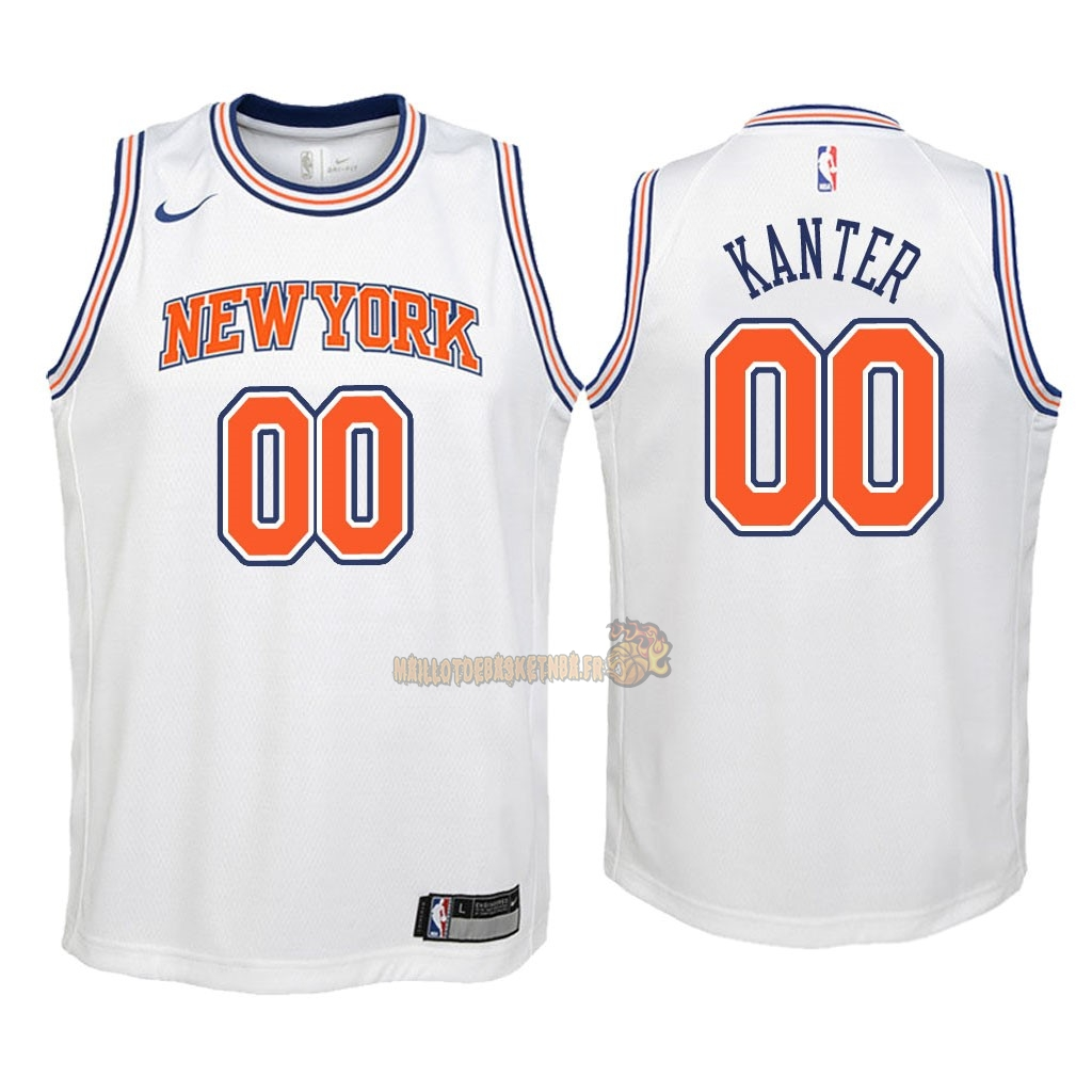 Vente Nouveau Maillot NBA Enfant New York Knicks NO.0 Enes Kanter Blanc Statement 2018 Pas Cher