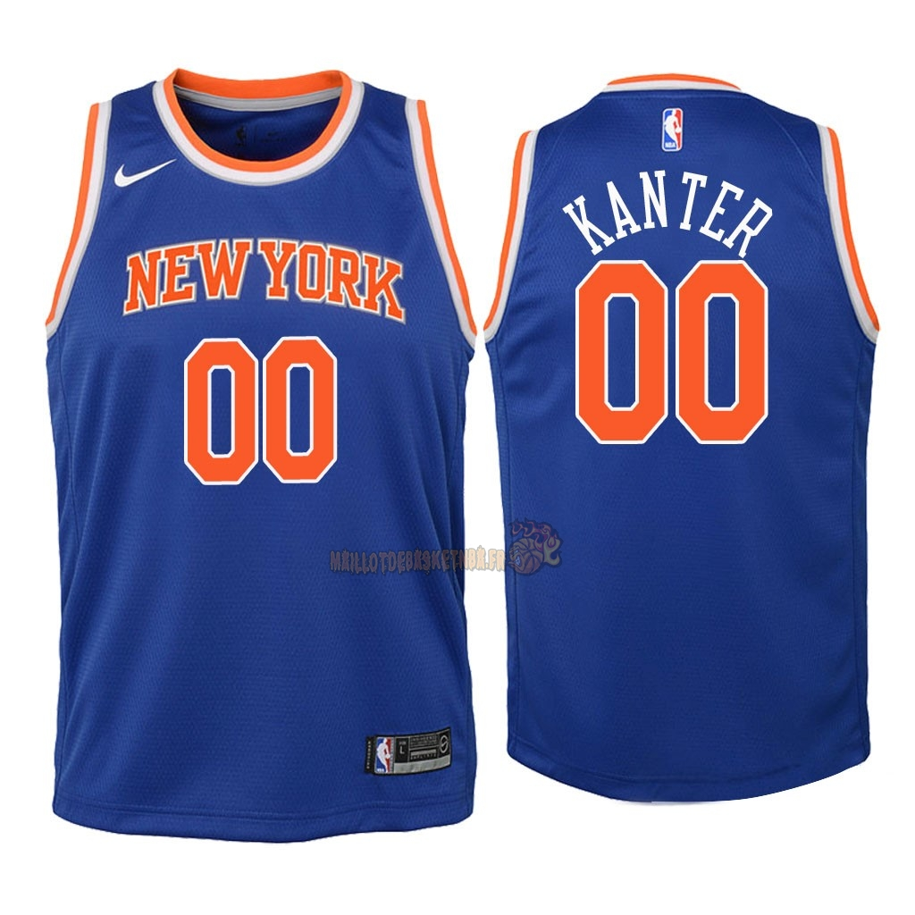 Vente Nouveau Maillot NBA Enfant New York Knicks NO.0 Enes Kanter Bleu Icon 2018 Pas Cher