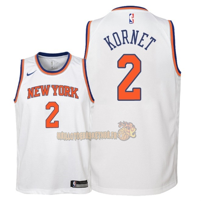 Vente Nouveau Maillot NBA Enfant New York Knicks NO.2 Luke Kornet Blanc Association 2018 Pas Cher