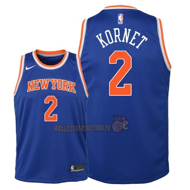 Vente Nouveau Maillot NBA Enfant New York Knicks NO.2 Luke Kornet Bleu Icon 2018 Pas Cher