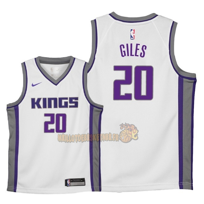 Vente Nouveau Maillot NBA Enfant Sacramento Kings NO.20 Harry Giles Blanc Association 2018 Pas Cher