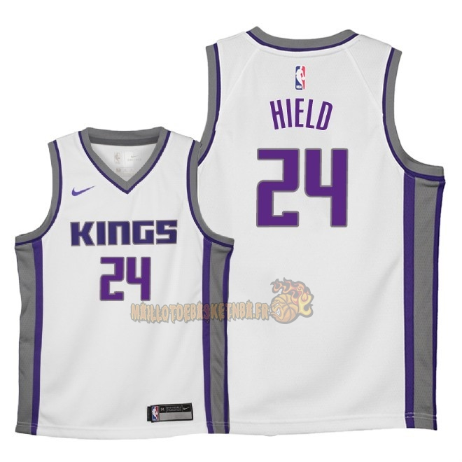 Vente Nouveau Maillot NBA Enfant Sacramento Kings NO.24 Buddy Hield Blanc Association 2018 Pas Cher
