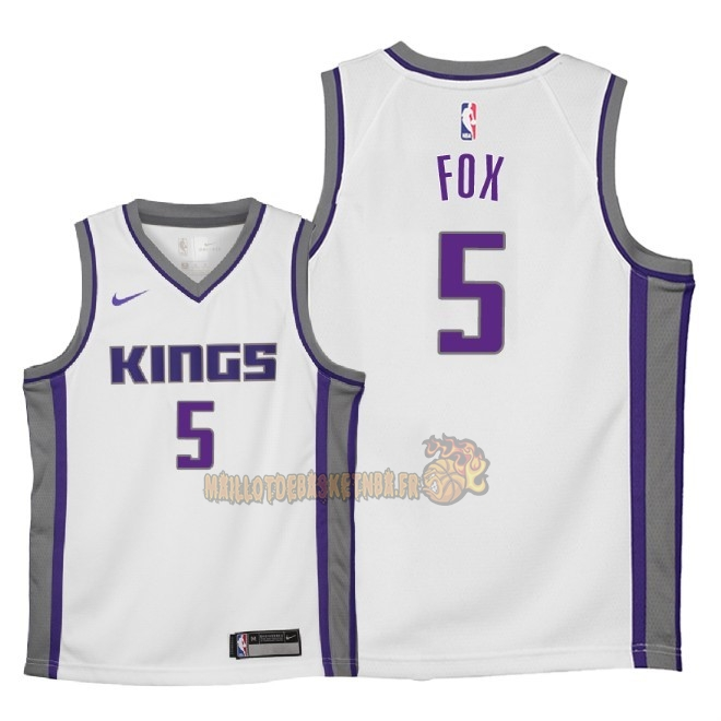 Vente Nouveau Maillot NBA Enfant Sacramento Kings NO.5 De'Aaron Fox Blanc Association 2018 Pas Cher