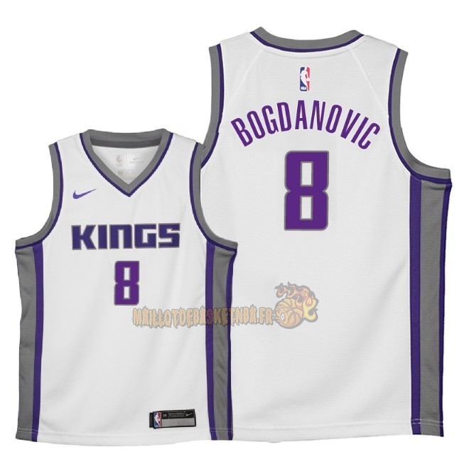 Vente Nouveau Maillot NBA Enfant Sacramento Kings NO.8 Bogdan Bogdanovic Blanc Association 2018 Pas Cher