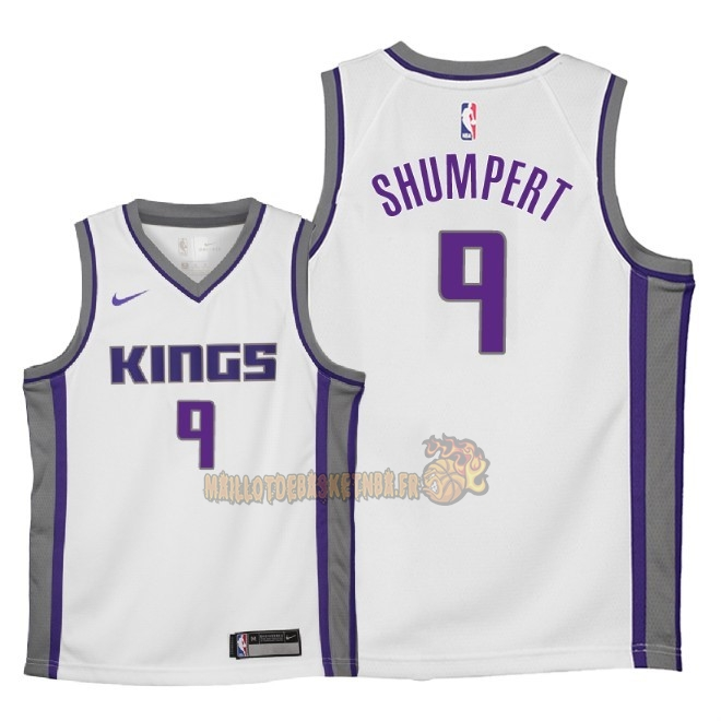 Vente Nouveau Maillot NBA Enfant Sacramento Kings NO.9 Iman Shumpert Blanc Association 2018 Pas Cher