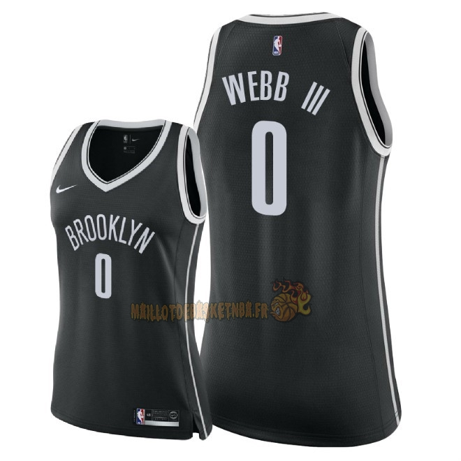 Vente Nouveau Maillot NBA Femme Brooklyn Nets NO.0 James Webb III Noir Icon 2018 Pas Cher