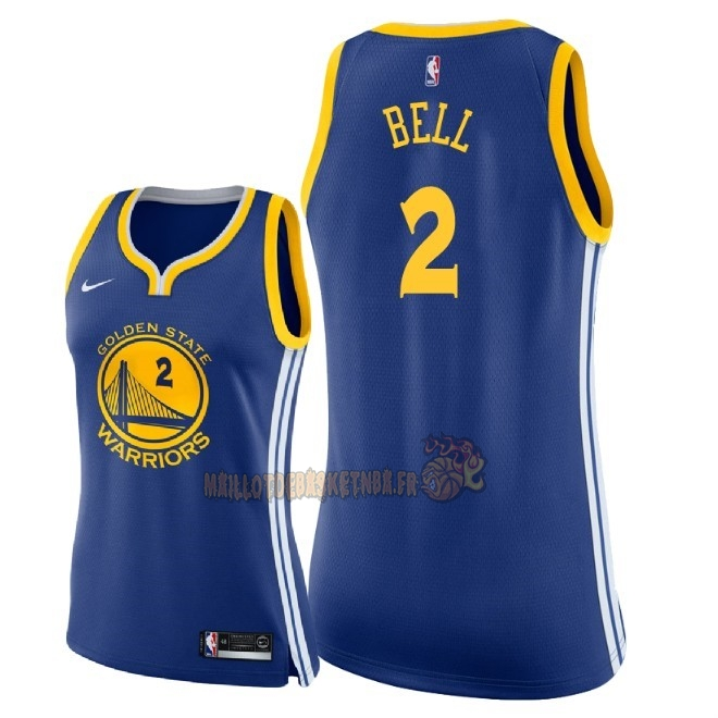 Vente Nouveau Maillot NBA Femme Golden State Warriors NO.2 Jordan Bell Bleu Icon 2018 Pas Cher