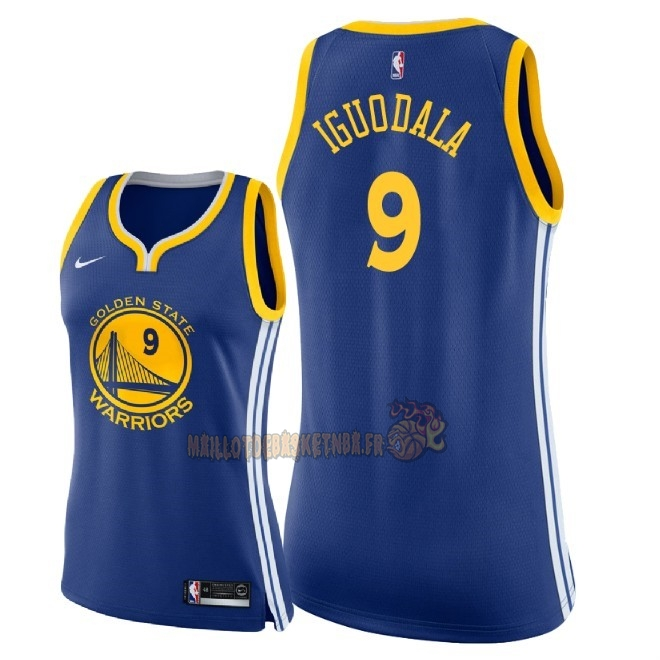 Vente Nouveau Maillot NBA Femme Golden State Warriors NO.9 Andre Iguodala Bleu Icon 2018 Pas Cher