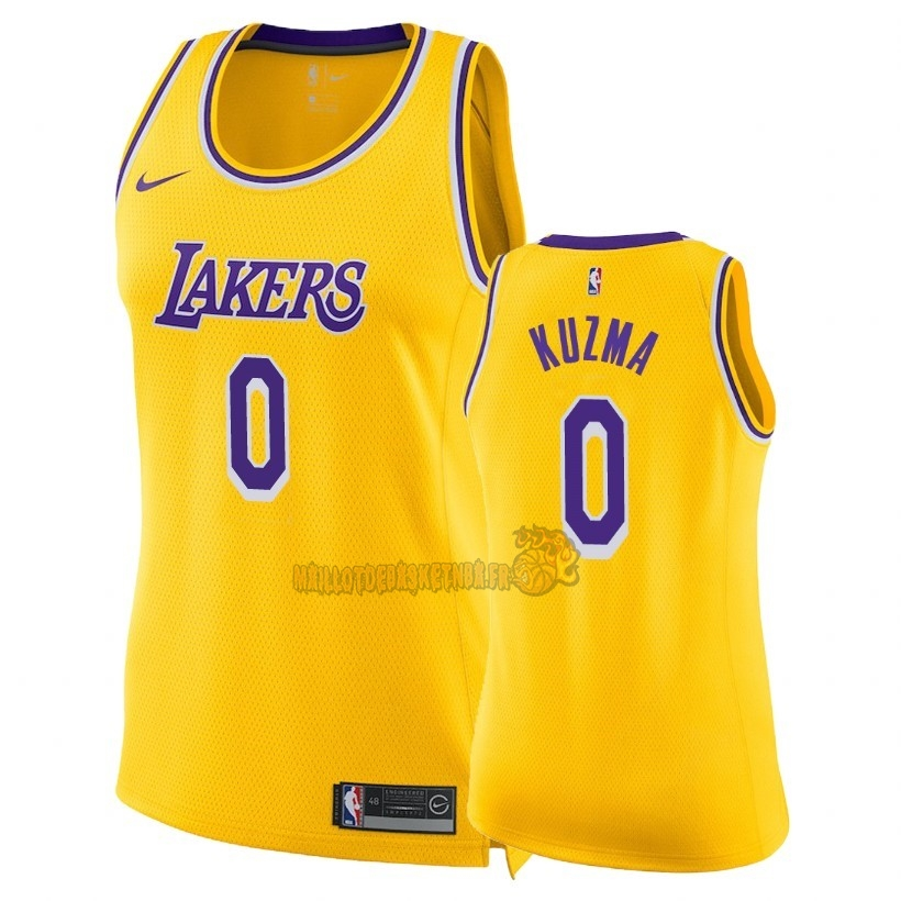 Vente Nouveau Maillot NBA Femme Los Angeles Lakers NO.0 Kyle Kuzma Jaune Icon 2018-19 Pas Cher