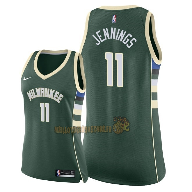 Vente Nouveau Maillot NBA Femme Milwaukee Bucks NO.11 Brandon Jennings Vert Icon 2018 Pas Cher
