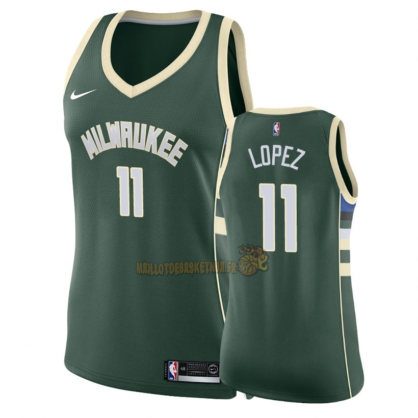 Vente Nouveau Maillot NBA Femme Milwaukee Bucks NO.11 Brook Lopez Vert Icon 2018 Pas Cher