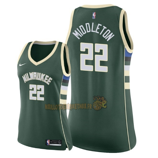 Vente Nouveau Maillot NBA Femme Milwaukee Bucks NO.22 Khris Middleton Vert Icon 2018 Pas Cher