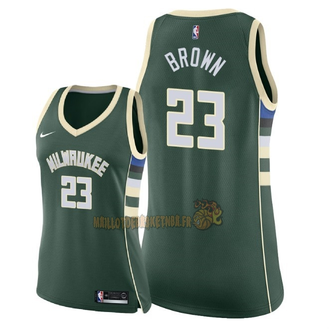 Vente Nouveau Maillot NBA Femme Milwaukee Bucks NO.23 Sterling Brown Vert Icon 2018 Pas Cher