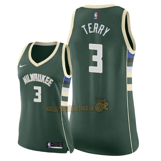 Vente Nouveau Maillot NBA Femme Milwaukee Bucks NO.3 Jason Terry Vert Icon 2018 Pas Cher