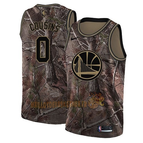 Vente Nouveau Maillot NBA Golden State Warriors NO.0 DeMarcus Cousins Camo Swingman Collection Realtree 2018 Pas Cher