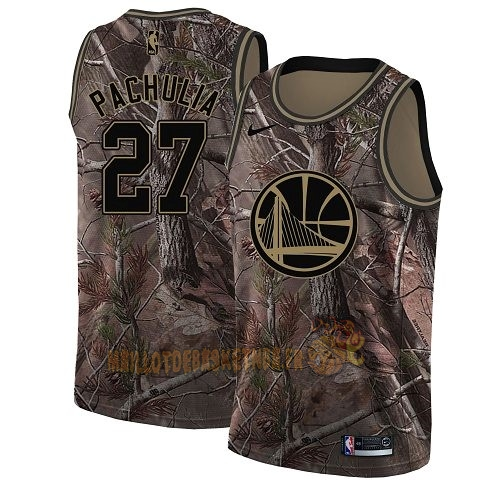 Vente Nouveau Maillot NBA Golden State Warriors NO.27 Zaza Pachulia Camo Swingman Collection Realtree 2018 Pas Cher