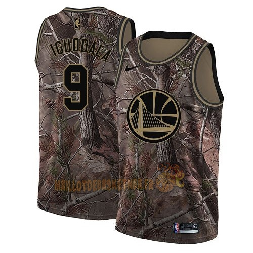 Vente Nouveau Maillot NBA Golden State Warriors NO.9 Andre Iguodala Camo Swingman Collection Realtree 2018 Pas Cher