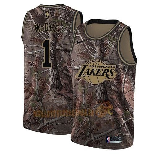 Vente Nouveau Maillot NBA Los Angeles Lakers NO.1 JaVale McGee Camo Swingman Collection Realtree 2018 Pas Cher