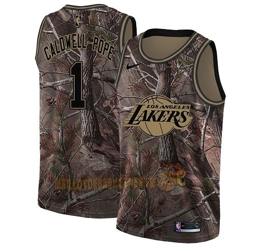 Vente Nouveau Maillot NBA Los Angeles Lakers NO.1 Kentavious Caldwell Pope Camo Swingman Collection Realtree 2018 Pas Cher