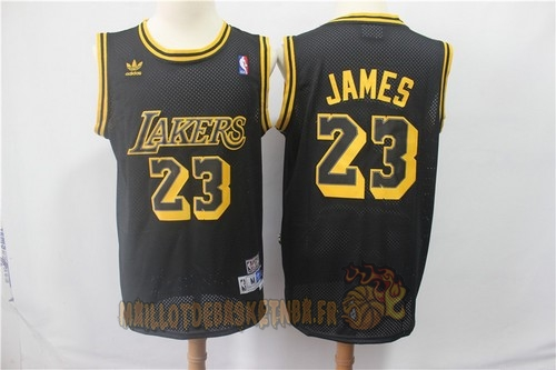 Vente Nouveau Maillot NBA Los Angeles Lakers NO.23 Lebron James Retro Noir Pas Cher