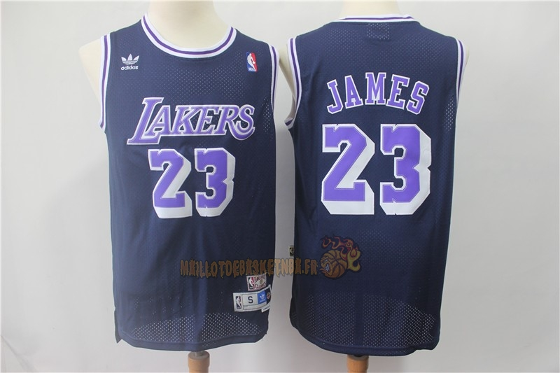 Vente Nouveau Maillot NBA Los Angeles Lakers NO.23 Lebron James Retro Noir Pourpre Pas Cher