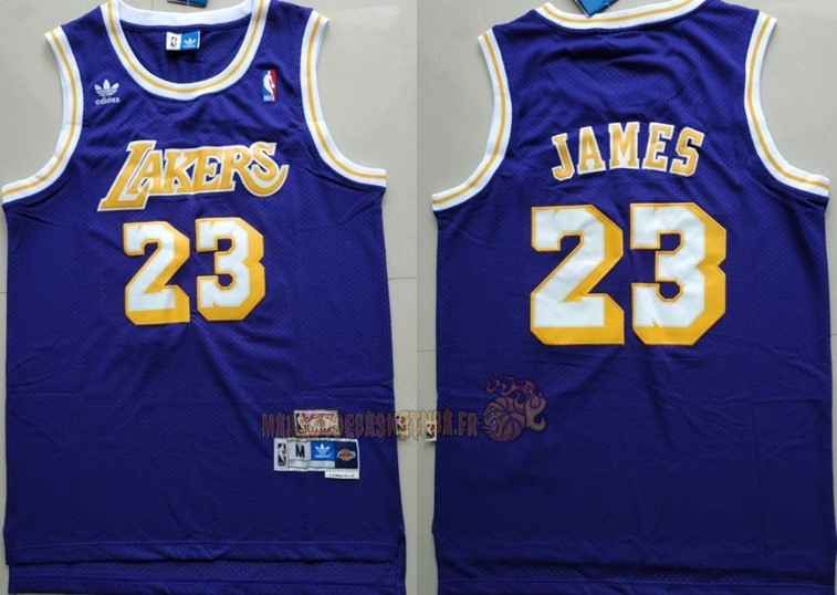 Vente Nouveau Maillot NBA Los Angeles Lakers NO.23 Lebron James Retro Pourpre Pas Cher
