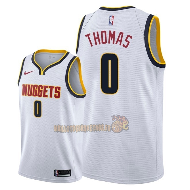 Vente Nouveau Maillot NBA Nike Denver Nuggets NO.0 Isaiah Thomas Blanc Association 2018-19 Pas Cher