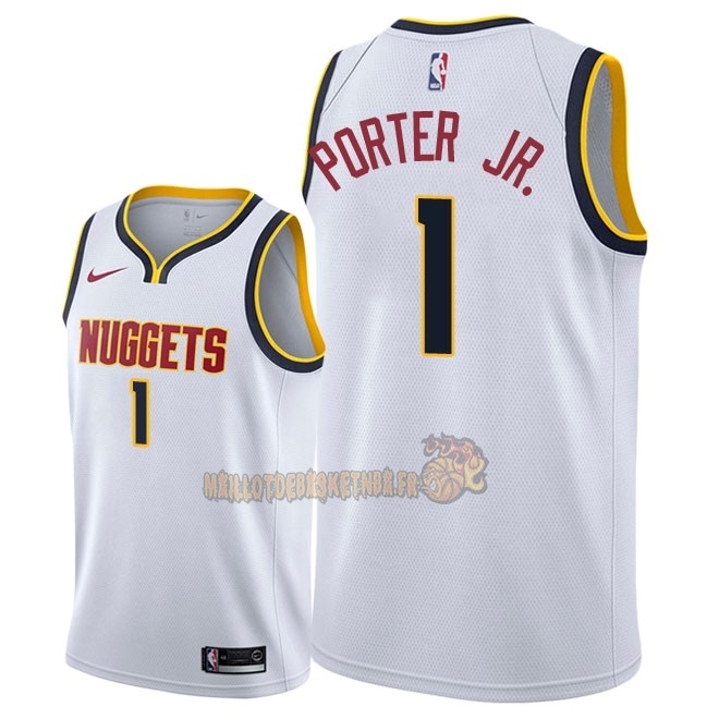 Vente Nouveau Maillot NBA Nike Denver Nuggets NO.1 Michael Porter Jr Blanc Association 2018-19 Pas Cher