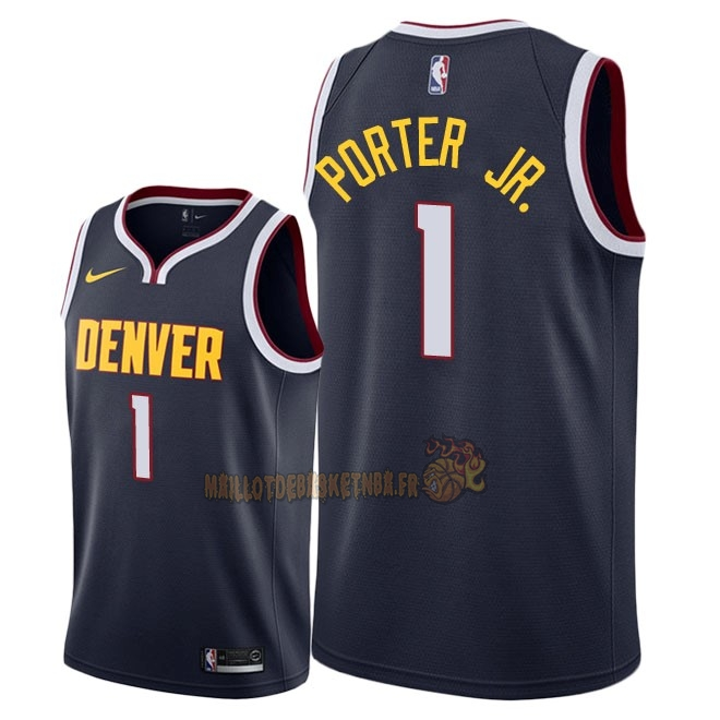 Vente Nouveau Maillot NBA Nike Denver Nuggets NO.1 Michael Porter Jr Marine Icon 2018-19 Pas Cher