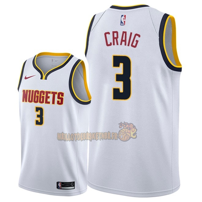 Vente Nouveau Maillot NBA Nike Denver Nuggets NO.3 Torrey Craig Blanc Association 2018-19 Pas Cher