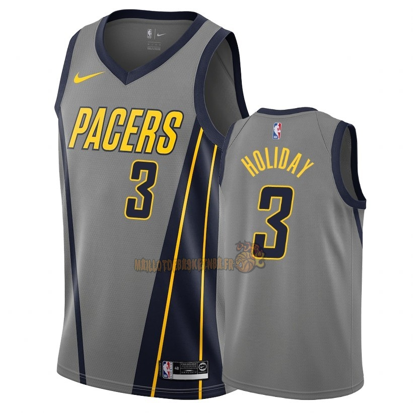 Vente Nouveau Maillot NBA Nike Indiana Pacers NO.3 Aaron Holiday Nike Gris Ville 2018-19 Pas Cher