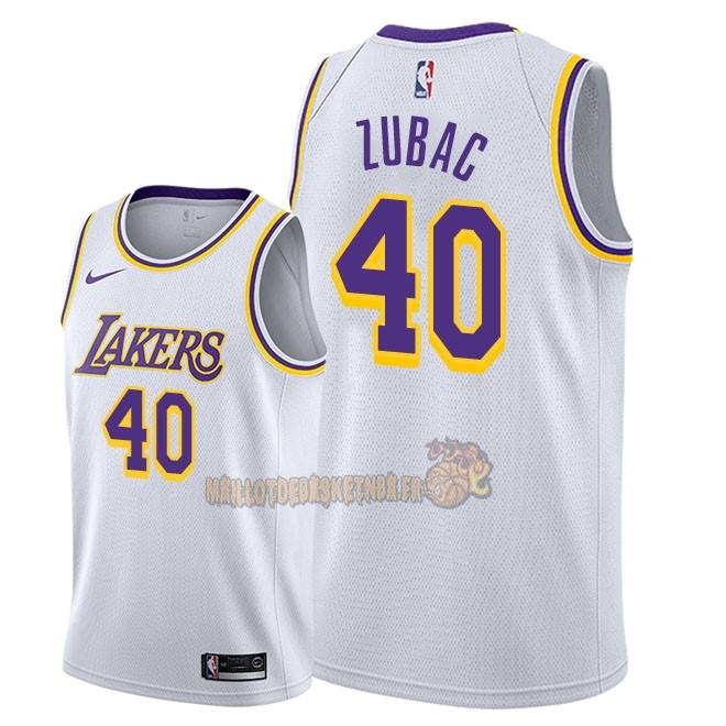 Vente Nouveau Maillot NBA Nike Los Angeles Lakers NO.40 Ivica Zubac Blanc Association 2018-19 Pas Cher
