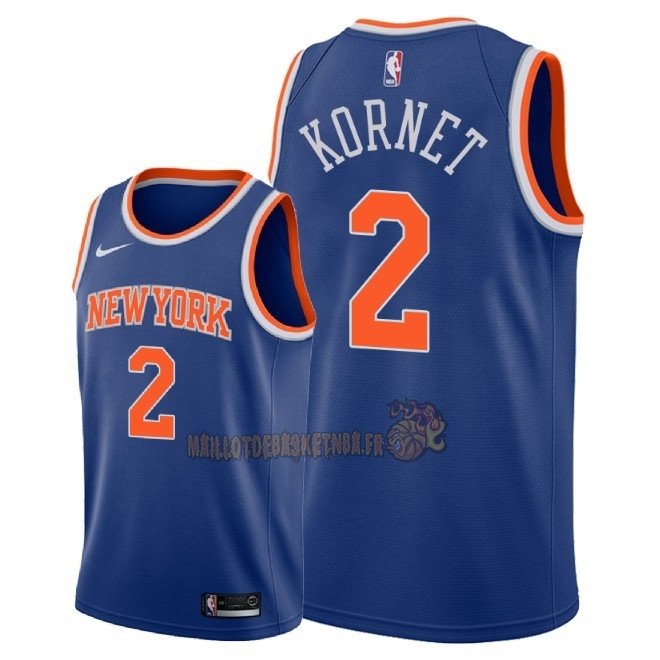 Vente Nouveau Maillot NBA Nike New York Knicks NO.2 Luke Kornet Bleu Icon 2018 Pas Cher